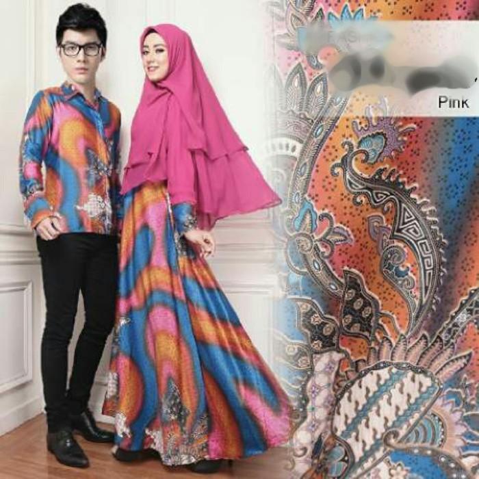 (JNH Shop)    Couple Shopia Baju Muslim Pasangan Sarimbit Batik Pesta Shopie Pink