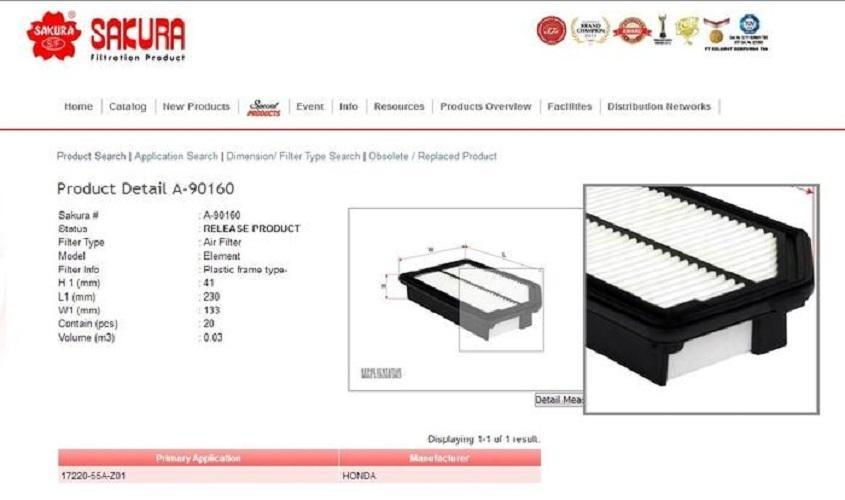 Filter Udara BRV or BR-V 1500cc Sakura A-90160 62062