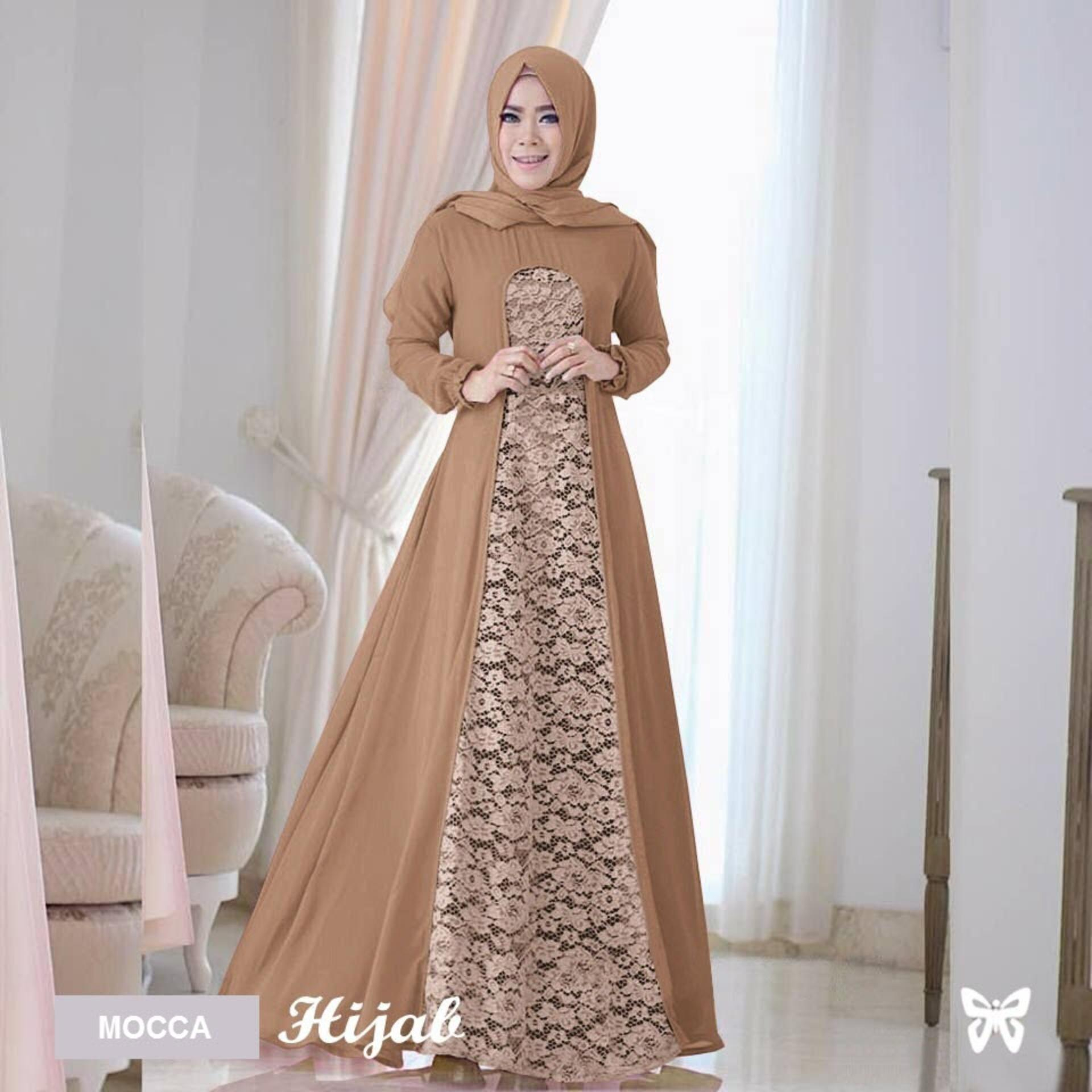 Sera Outfit Maxi Dress Lengan Panjang Set 2 in 1 MSR055 / Gamis Syari / Gaun Pesta Muslimah / Baju Muslim Wanita Syar'i / Hijab / Srrayta