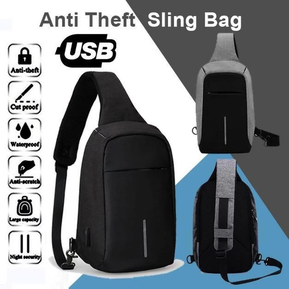 Fitur Tas Selempang Anti Maling Air Usb Charger Port Ransel Laptop Ada Dan Handset Sling Bag With Hitam