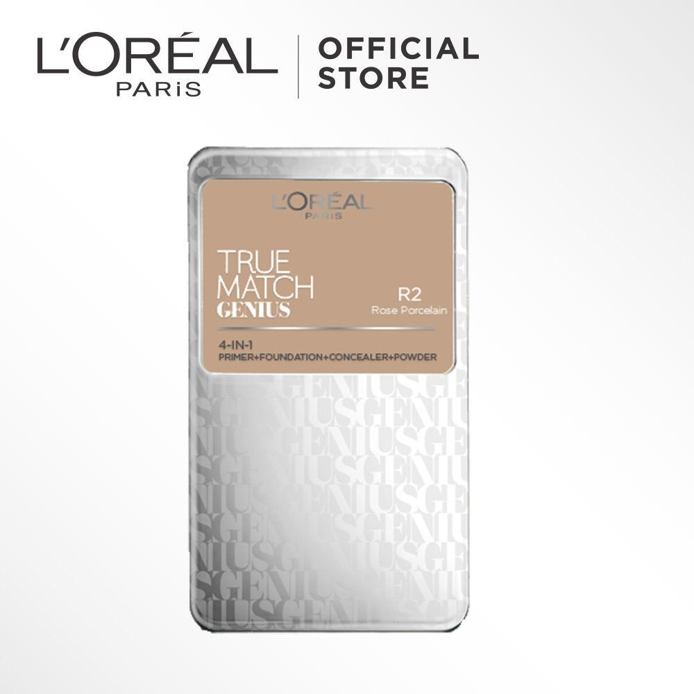 L'Oreal Paris True Match Genius Two Way Cake - R2 Rose Ivory by L'Oreal Paris Makeup   Loreal  Padat / Compact Powder Matte High Coverage For All Types of Skin / Semua Jenis Kulit Lightweight Ringan  Blendable