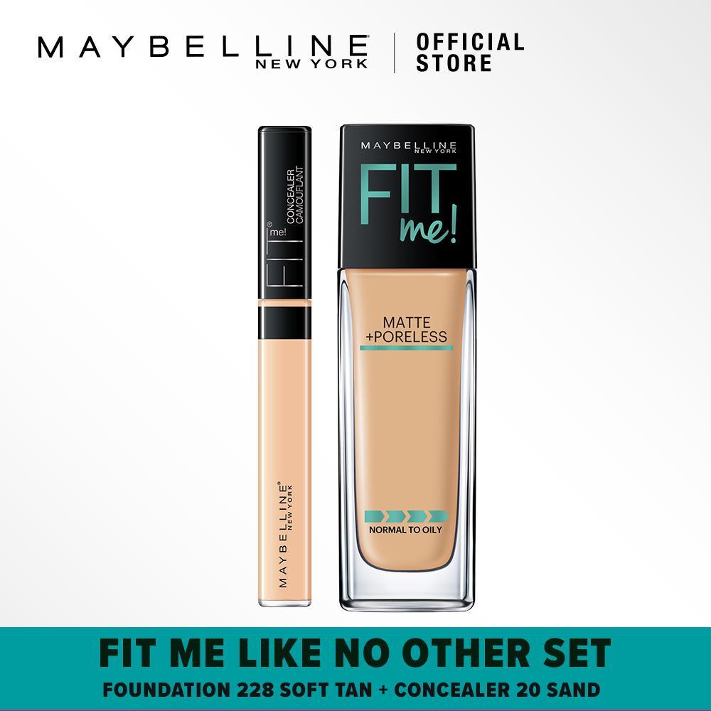 Maybelline Fit Me Like No Other Set : Foundation 228 Soft Tan + Concealer 20 Sand [Bundle]