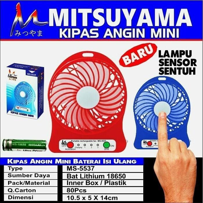 MITSUYAMA MS-5537 mini fan rechargeable + emergency / kipas portable