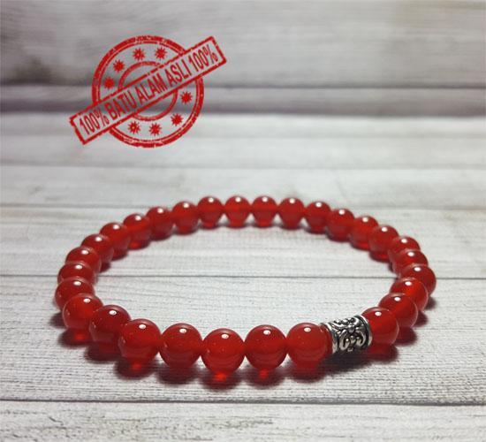 Gelang Batu Asli Cowok Cewek Red Agate 6mm
