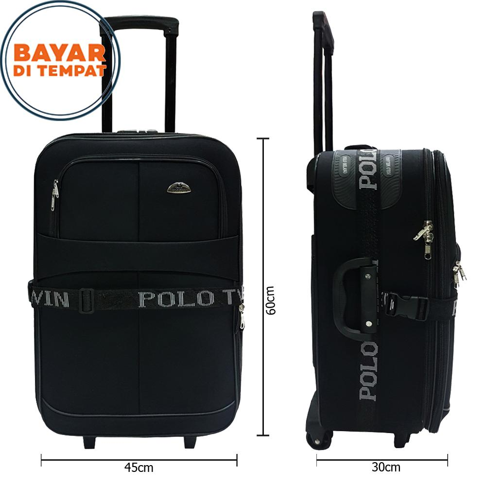 Polo Twin Koper Bahan Koper Baju Koper Travel Koper Murah Size 24 Inchi 2218 Koper Polo Original Expandable Import - Black
