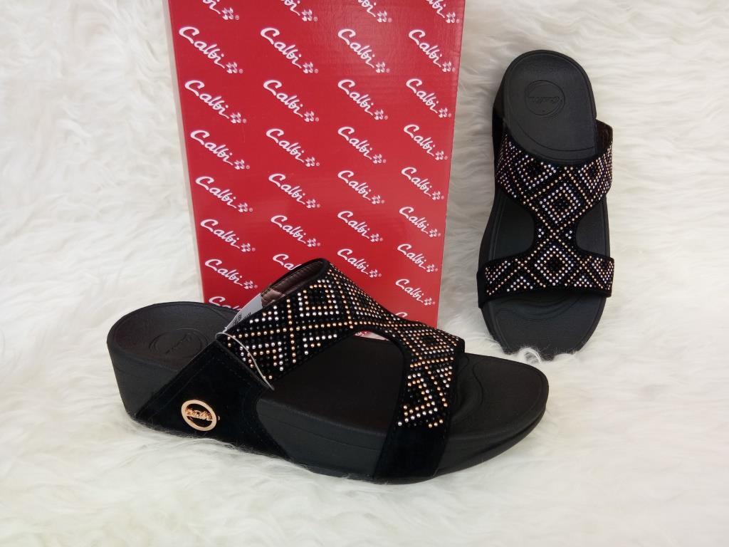 Sandal Wedges Wanita - Calbi F4X 1550 Hitam - Wedges Original