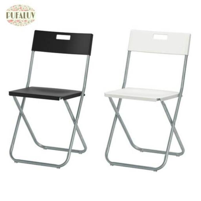 IKEA GUNDE Kursi Lipat - Hitam, Putih