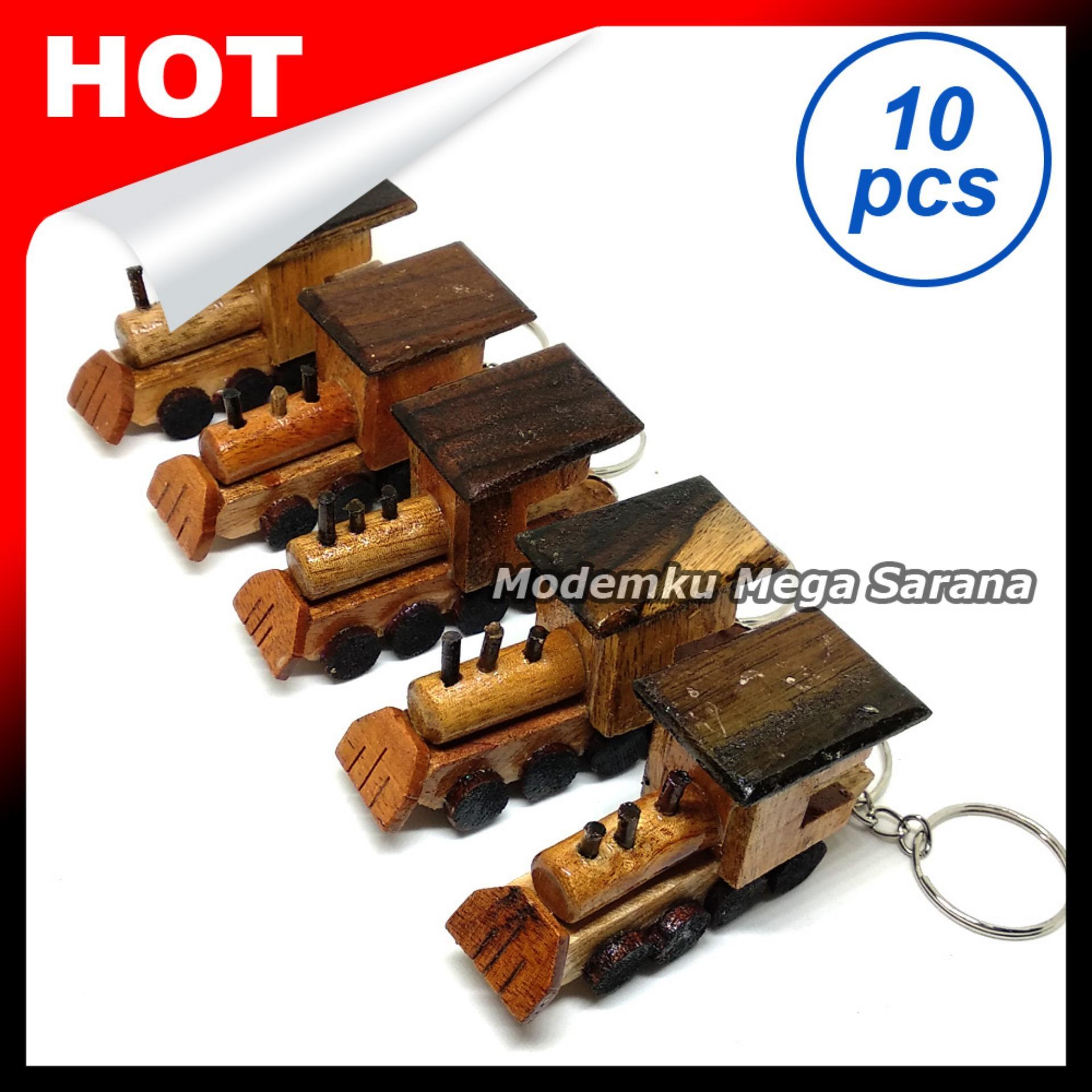 Souvenir Gantungan Kunci Kereta Api Lokomotif Kayu - Isi 10pcs