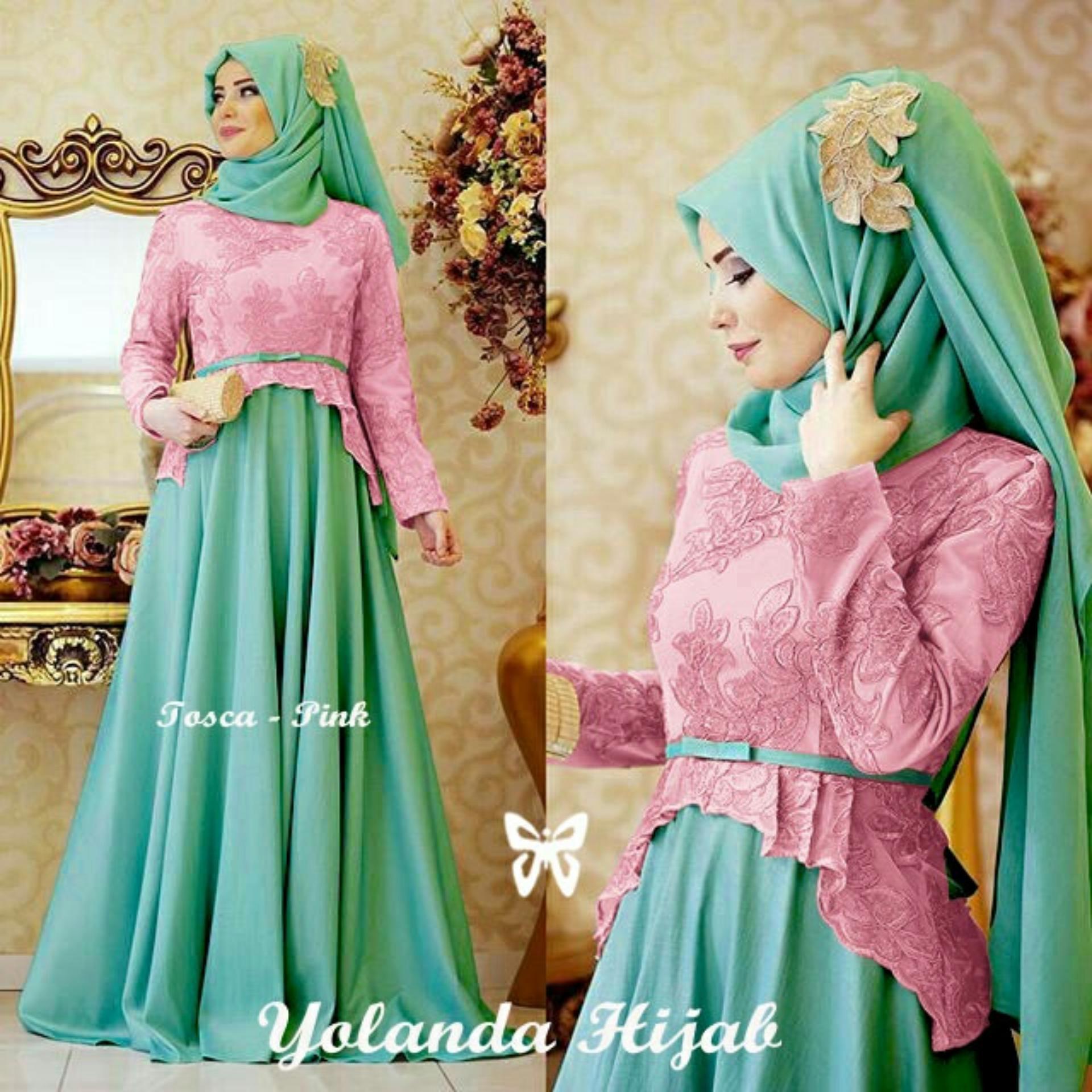 Baju Wanita Shop [Best Seller] Dress Gamis Muslim Amirah / Hijab Muslim / Muslim Syari Syar'i Hijab  / Busana Muslimahah Wanita / Kebaya Modern (landayo) SS - Pink Tosca / Gaun Pesta