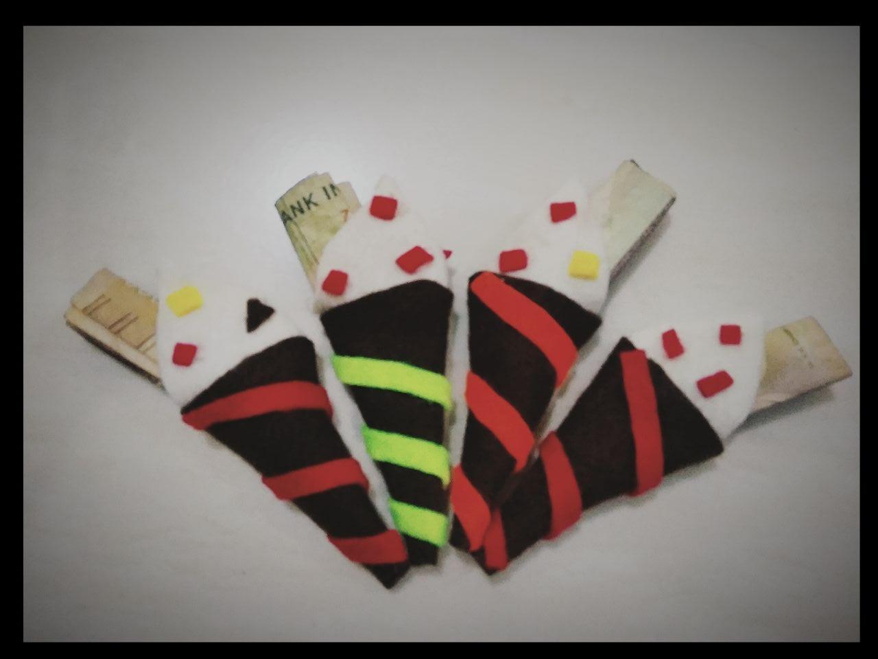 Angpao lebaran flannel model es krim cone unik 60 pcs