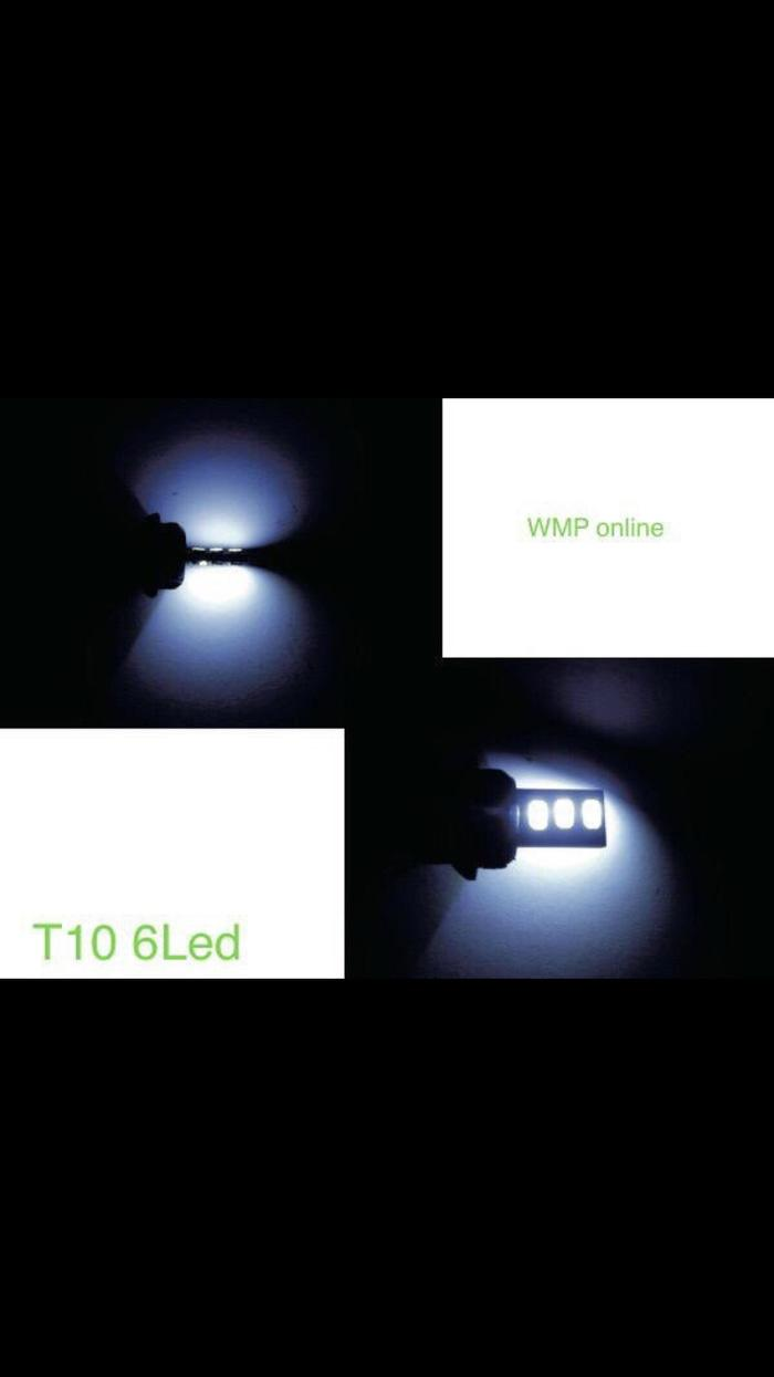 Detail Gambar Lampu Sen Sein T10 6 Led Gepeng 1Pc Warna Putih WMP-0458 Terbaru