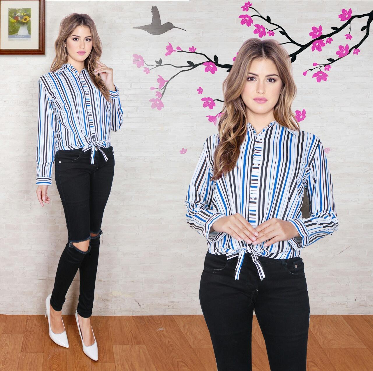 Baju Wanita Shop Kemeja Blouse Meri Lengan Panjang/ Blouse Salur Polos Cewek / Hem Kemeja Baju Wanita Fashion Bangkok / Blus Korean Style / Blouse Wanita Modern NS (rryme) - Biru