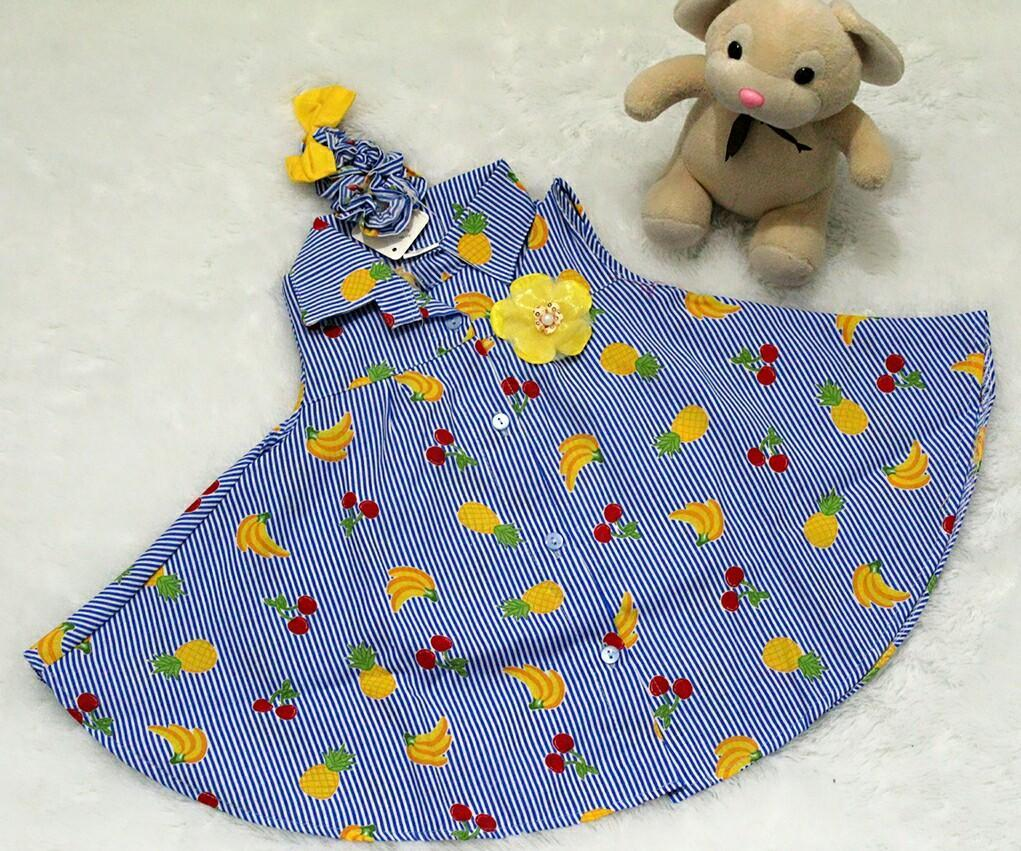 All Size 3-12 Bulan / Dress Baju Bayi Anak - Dress Kemeja Flare Headband