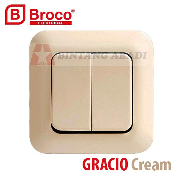 Termurah Broco Saklar Seri IB Inbow Gracio Cream 4162-11 / Double Switch SNI Harga Grosir