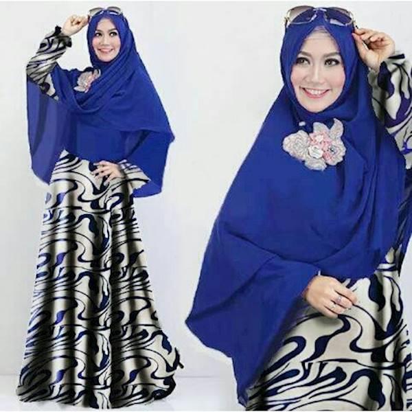 (JNH Shop)  Syari Abstrak Gamis Maxi Busana Muslim Simpel Unik