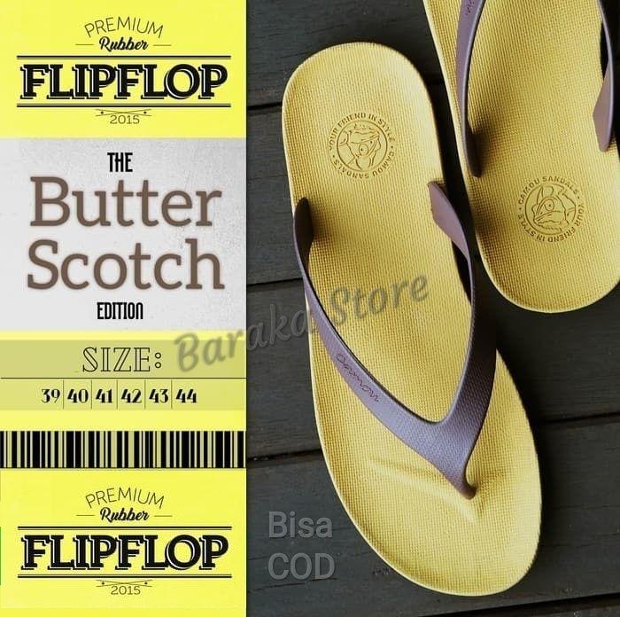 Baraka - Sandal Jepit Karet Pria Camou Casual Flip Flop - Kuning Tali Coffee