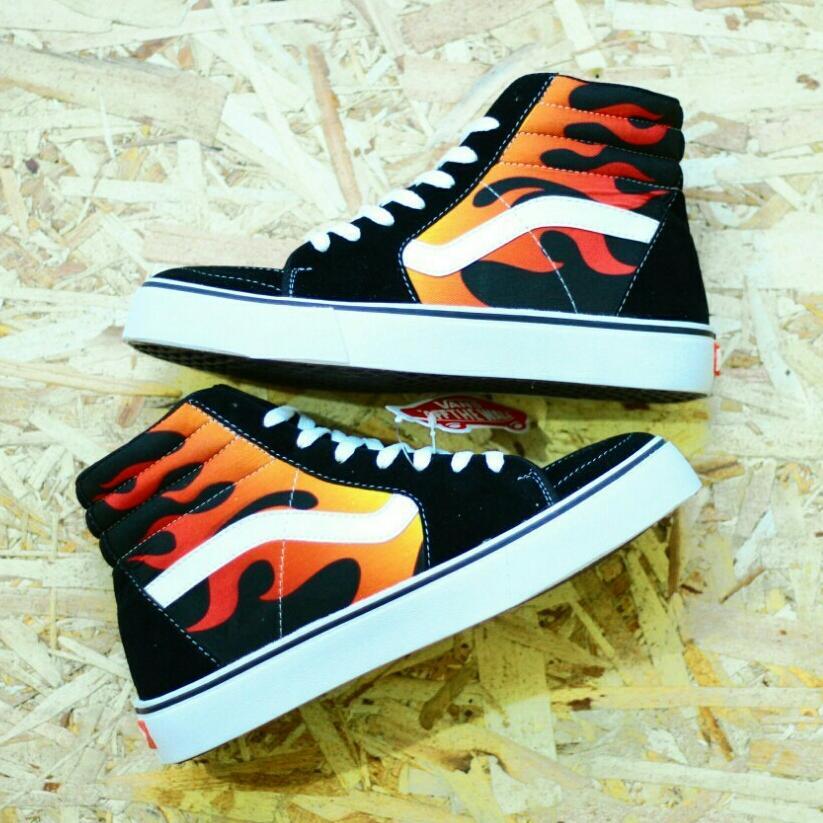 PROMO!!! Sepatu Vans SK8 Pria Casual Sneakers Sekolah Kuliah Gaya Trendi Kekinian Fashion Anak/Wanita Hitam Lidah Api