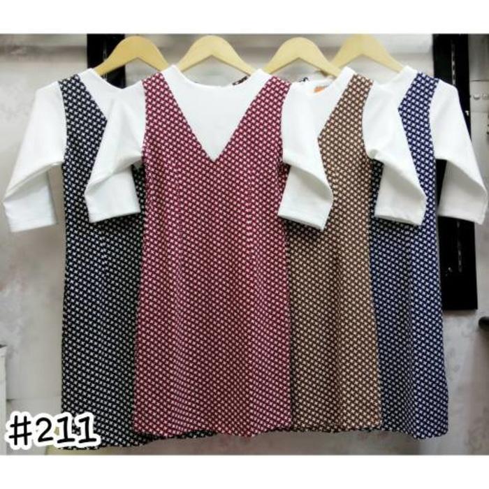 DRESS 211  Dress Olla Ramlan Kombinasi V Putih Lengan 3/4