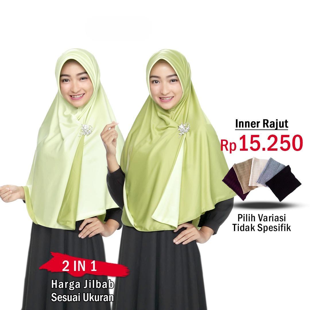 Zannah Hijab Jilbab Bolak Balik Instan 2 in 1 atau INNER RAJUT || Fashion Muslim Terbaru Wanita Kekinian Model Sekarang Model Jaman Now Hijab Instant Bergo Dua warna Khimar Syari Jumbo Jilbab Pengajian Pesta Multifungsi Pet Anti Tembem