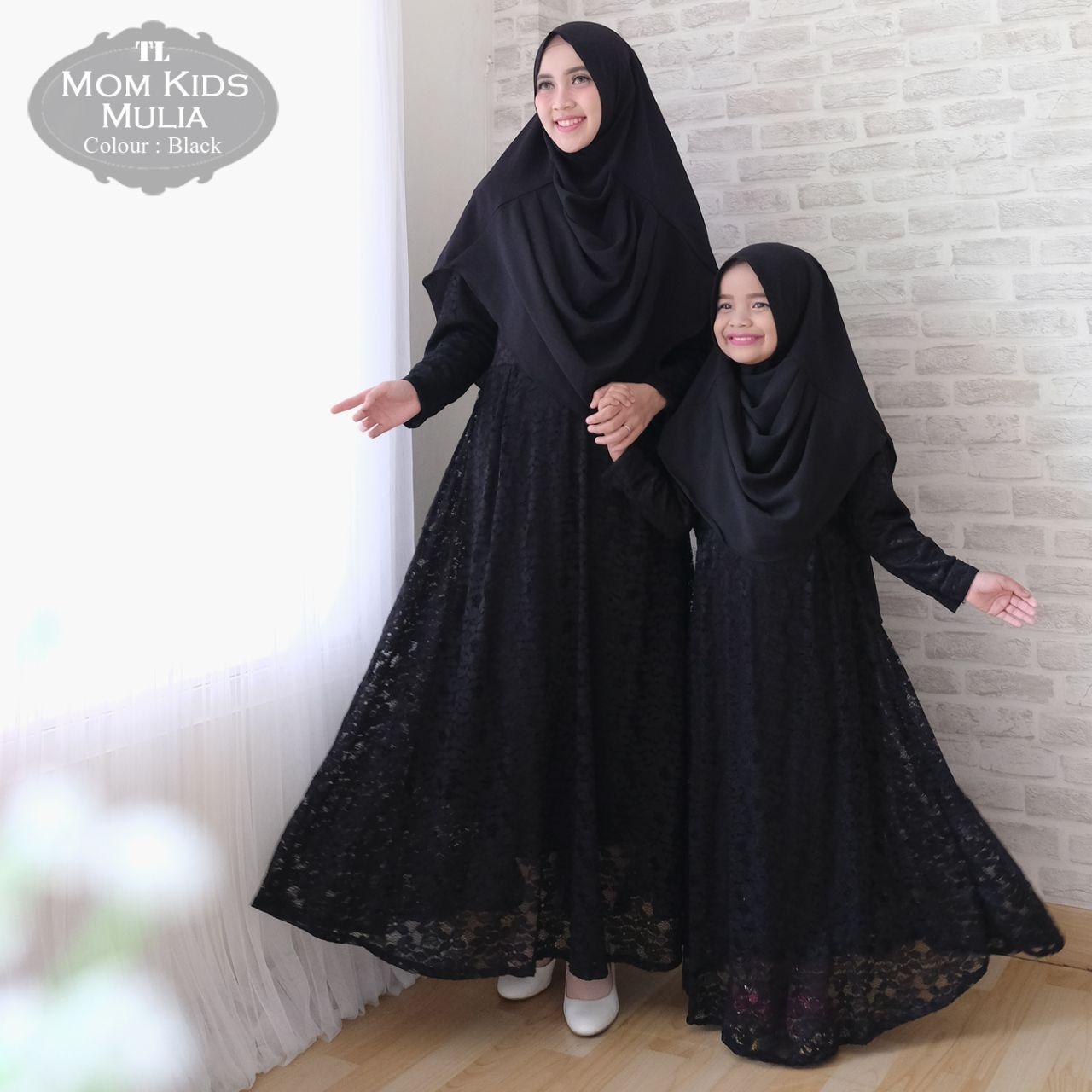 Gamis muslim syari ibu dan anak brukat mulia couple