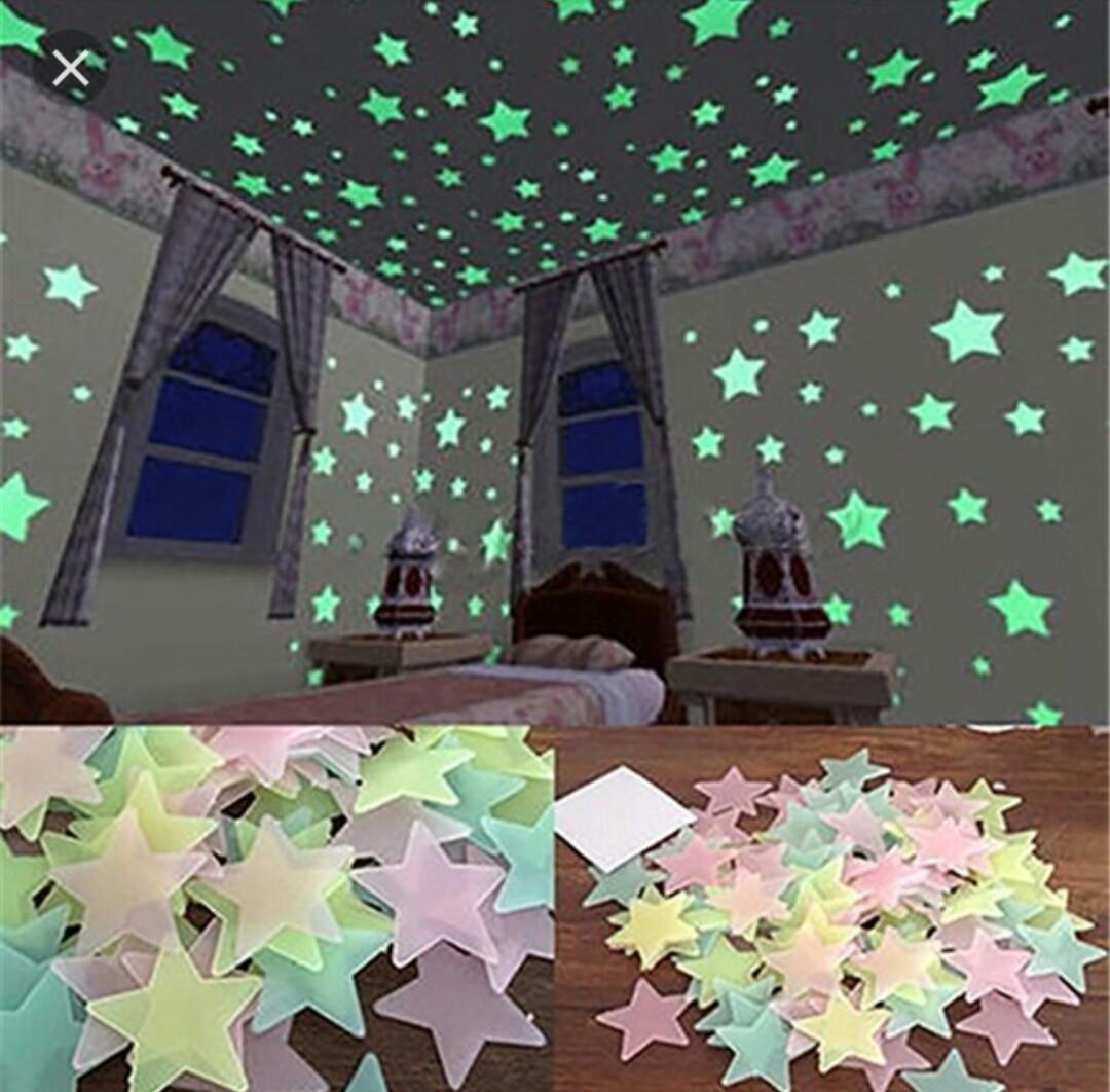 GLOW IN THE DARK, wallpaperr dinding lampu tempel menyala dalam gelap bintang bulan kamar indah(a'nathania acc)