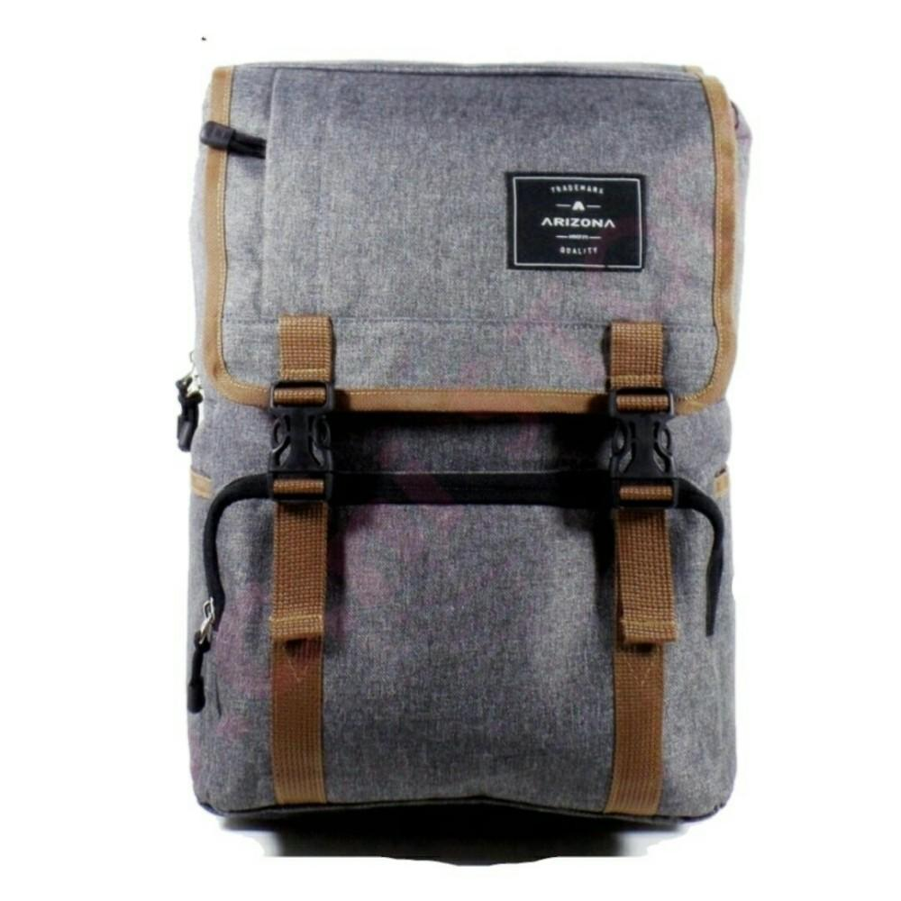 Tas Ransel Pria Arizona Backpack Korean style Import Vintage Design 17 Inchi 1502 -17 ZV Polyester Canvas - Grey +RainCover Waterprooff