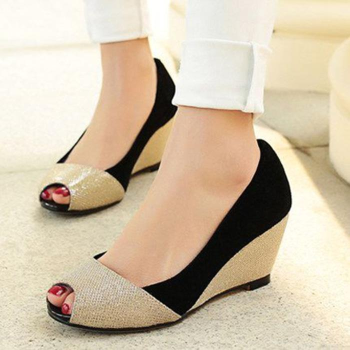 Sepatu Kerja Wanita - Sepatu Pantofel - Wedges Electric [WE-01] Black - Hitam, 40 - sepatu wanita terbaru / sepatu wanita termurah / sepatu wanita berkualitas / sepatu wanita trendy / sepatu hells / sepatu kets / sepatu pesta / sepatu kantor /sepatu