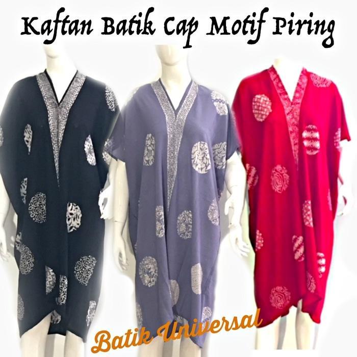 KAFTAN BATIK Piring. Batik Wanita Modern Indonesia. Dress Batik KF006 - Hitam