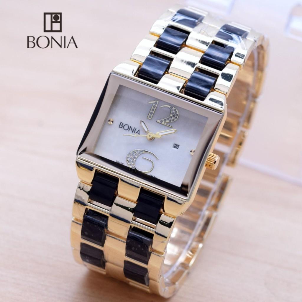 Bonia Ladies Elegant Jam Tangan Wanita Stainless Silver Gold B147 3517 Rosegold Fiber Twin Segi Body