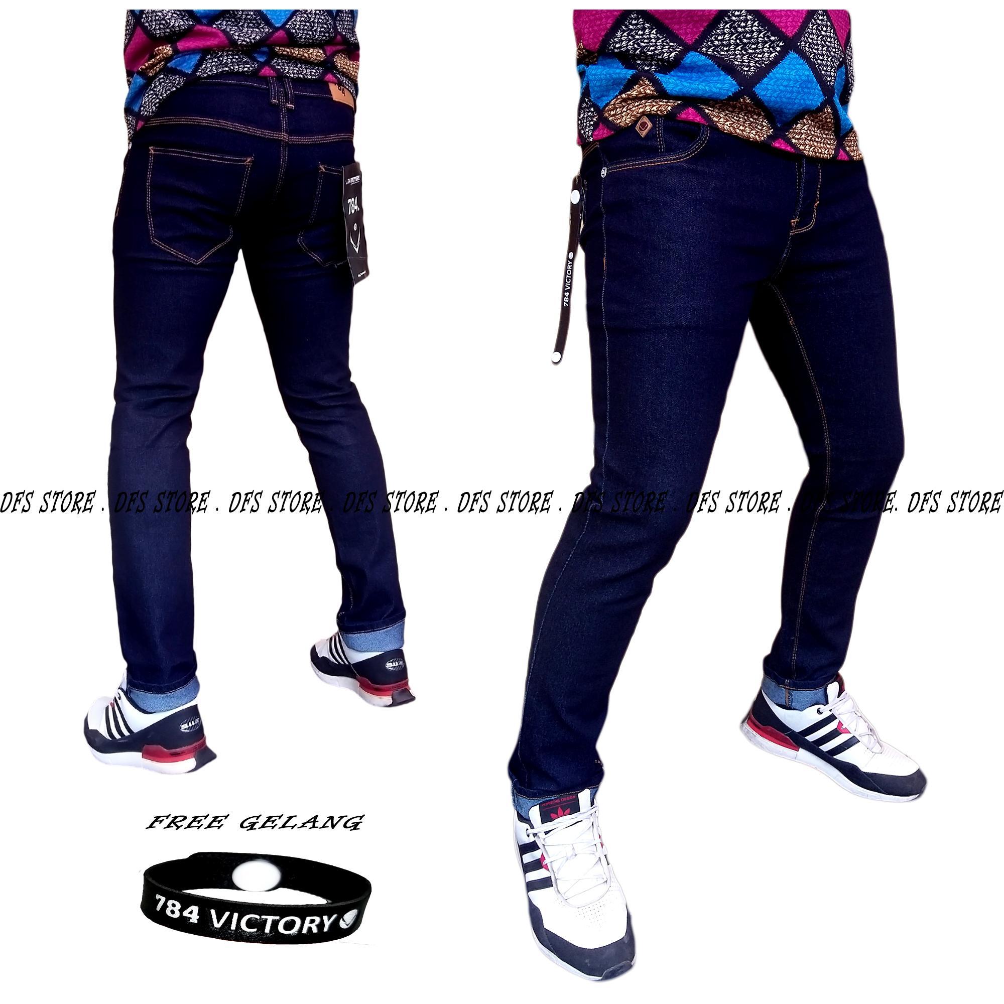 DFS-784 VICTORY DENIM Celana jeans denim skinny / slimfit / pensil pria – BIRU DONGKER
