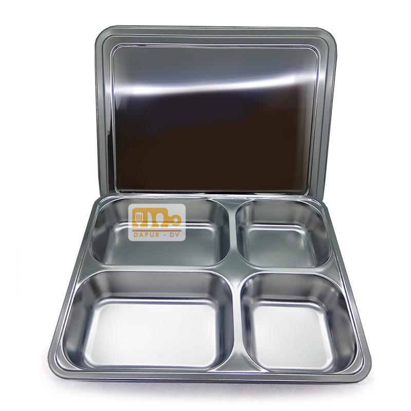 Toko David Piring makan PERSEGI 4 Sekat + tutup stainless steel / tempat makan stainless steel / piring saji / piring militer / piring rumah sakit / piring penjara