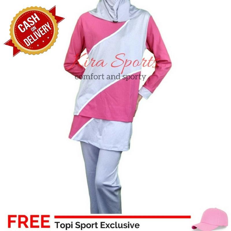 Kira Baju Olahraga Wanita / Baju Senam Muslim Wanita FREE Topi Polos Sport NJ1051017-Pnk - Bisa COD