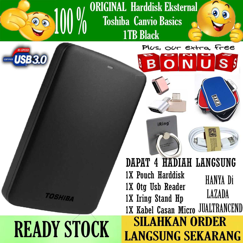 Toshiba Canvio Basic 1TB - HDD / HD / Hardisk Eksternal - Hitam - Gratis  Pouch Harddisk + Otg Usb Reader + Iring Stand Hp + Kabel Casan Android