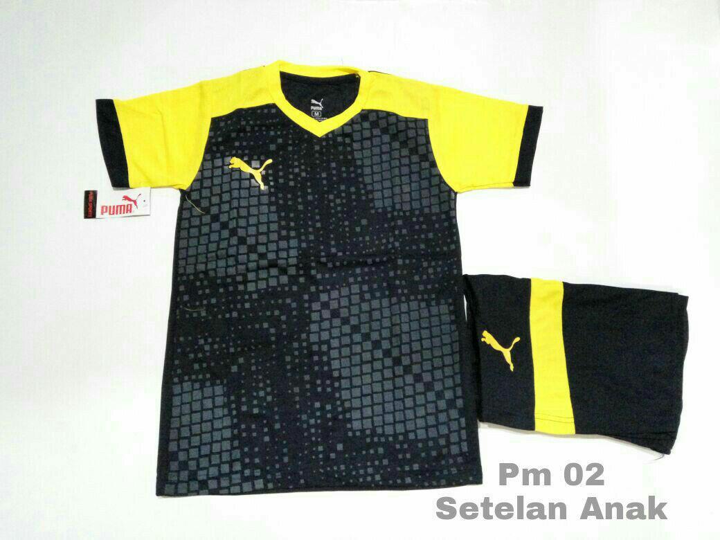 Setelan Anak Pm 02 Hitam kuning Baju Kaos Jersey Anak Olahraga Bola Futsal/Volly