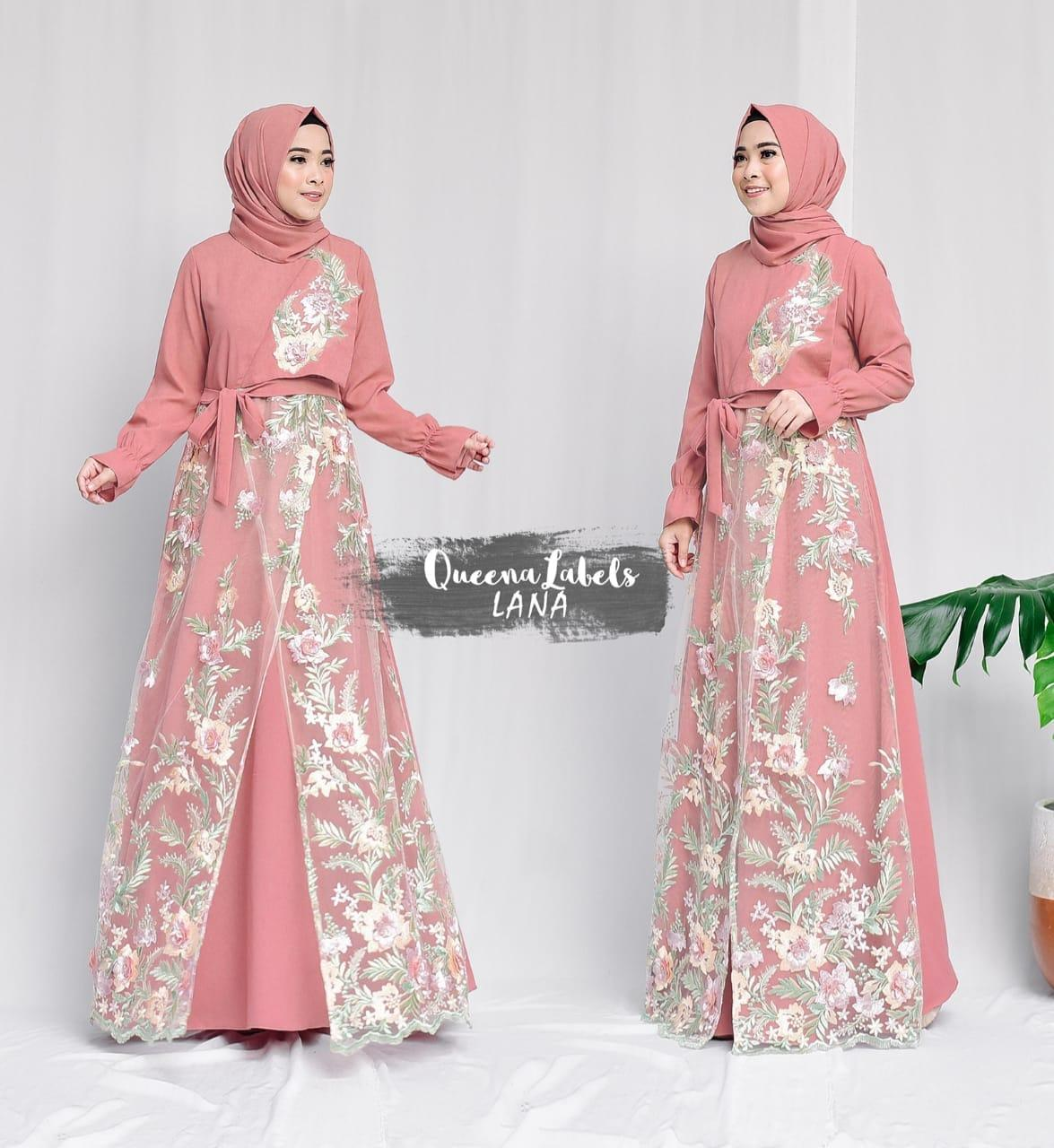 Dress Pesta 2in1 Ity Crept mix Brokat Salem Hijau Ori Branded by Queenalabels