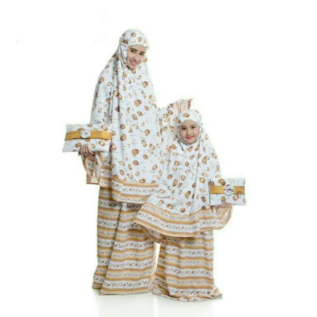 Mukena Bali ANAK Katun Rayon Super Adem Motif Bunga Dasar Putih Plus Tas Dompet Clutch Cantik Murah Pink