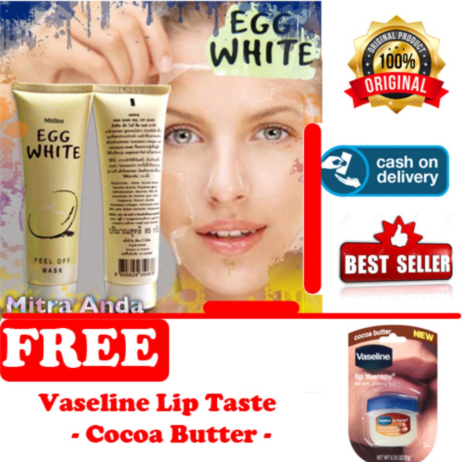 HOKI COD -  Mask Egg White Peel Off - Masker Putih Telur - 85 Gram - 1 Pcs + Gratis Vaseline Lip Therapy Cocoa Butter Therapy Premium - 7Gr