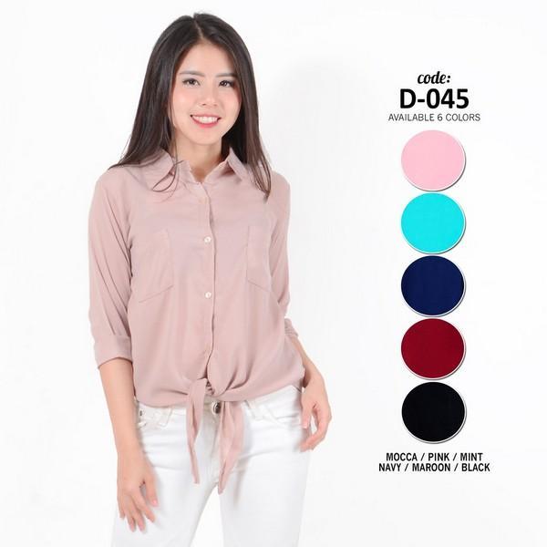 Fashion Baju Blouse Atasan Kerja Murah Wanita / Cewek Kekinian Ikat Depan D- 45