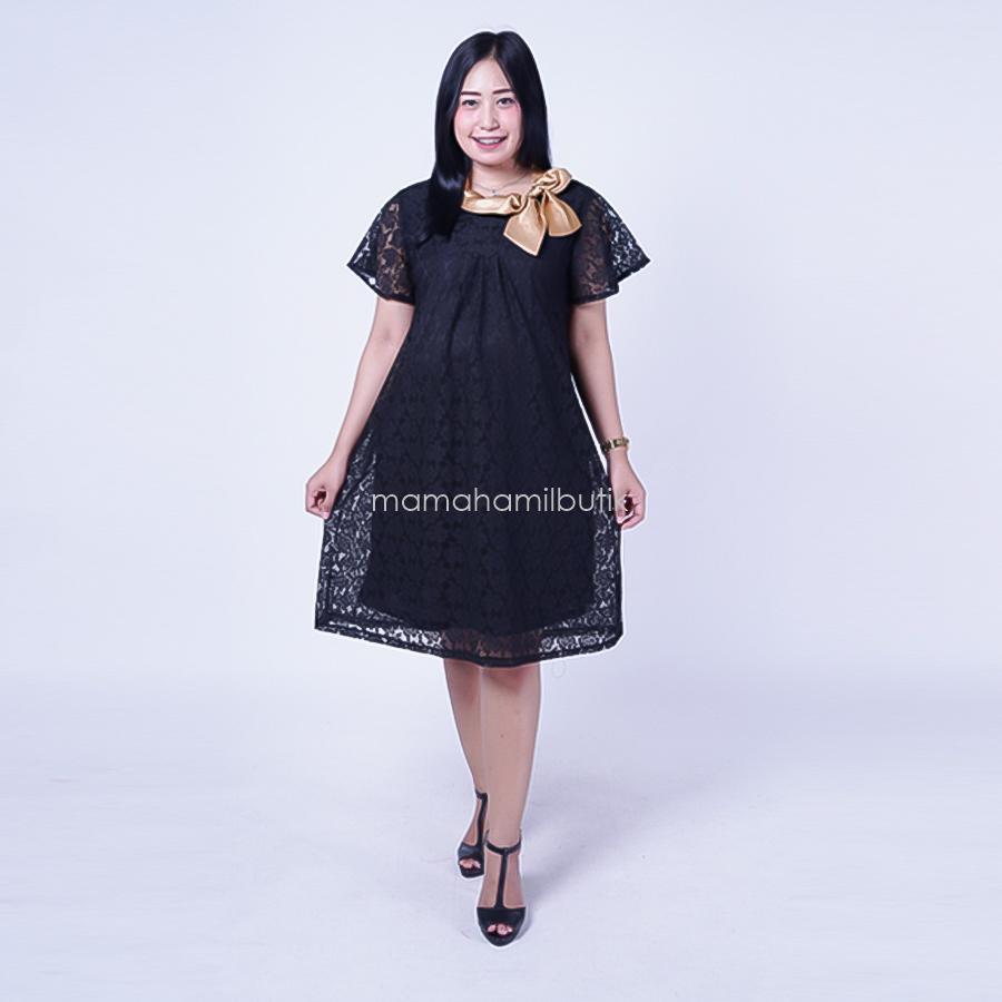 Mama Hamil Free 1 Celana Dalam Hamil Baju Hamil Dress Pesta Modis Brokat Bunga Pita - DRO 787