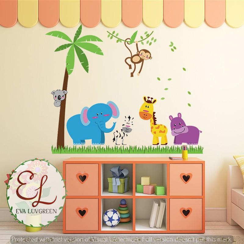 Eva Luvgreen Wallsticker Anak Animal Gajah Biru Ukuran 60x90cm/ Stiker Dinding/ Stiker Tembok/ Wallpaper Sticker/ Wall Sticker Dinding/ Wall Stiker Dinding/ ...
