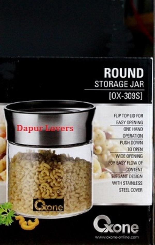 Oxone Round Storage Jar (OX-309S) || Toples Serbaguna Dengan Tutup Unik (Gratis Bubble Untuk Packing)