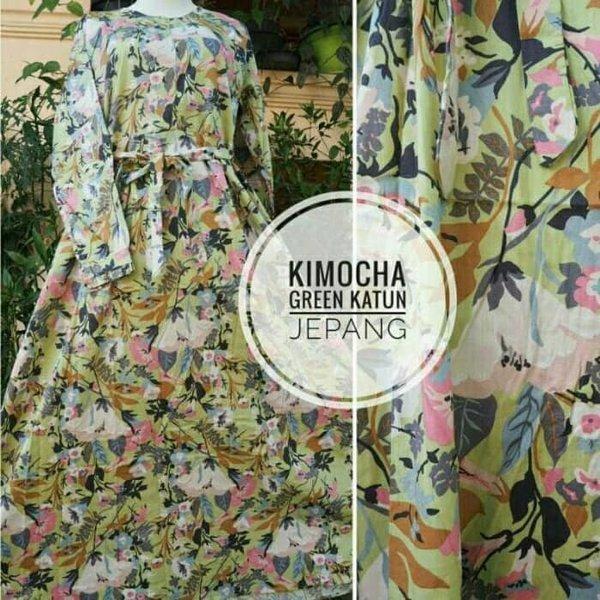 PROMO ... Gamis katun jepang 100 ori motif kimocha hijau Bestseller busana muslim terbaru