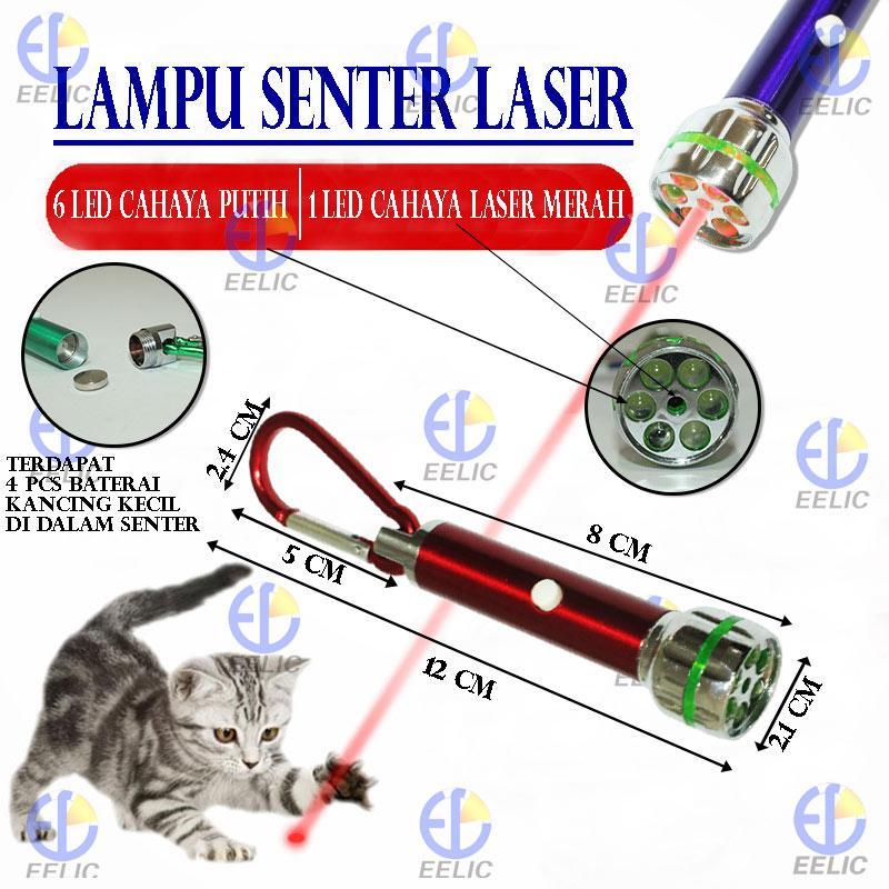 ... EELIC LAS-GKUNCI Lampu Senter Laser Gantung 6 Led Cahaya Putih + 1 Led Laser ...