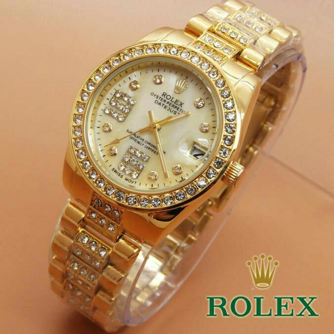 Jam Tangan Wanita Rolex Balok Full Diamond Date F6508