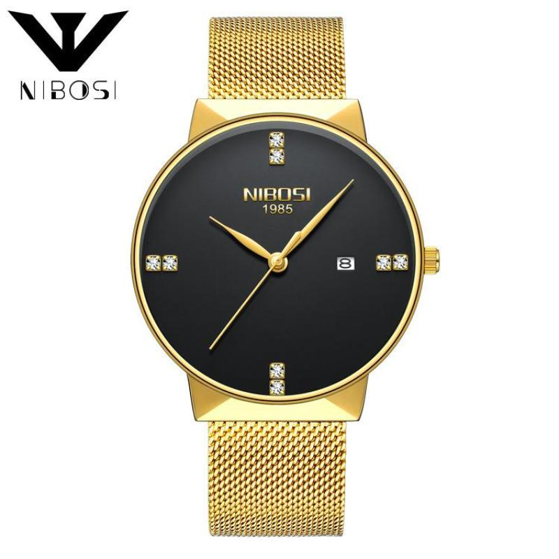 Nibosi Luxury Diamonds Alloy Mesh Band Unisex Quartz Wristwatches 2323 (Gold Band-Black) Malaysia