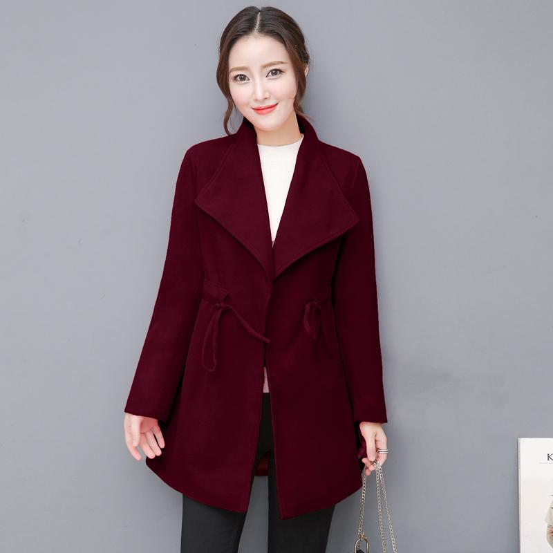 fd0691f81f Women Fashion Winter Woolen Jacket College Teacher Slim Coat