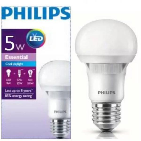 LED PHILIPS 5 Watt PUTIH ESSENSIAL Lampu Philip Bulb Bohlam 5W E27 Cool Day Light 220