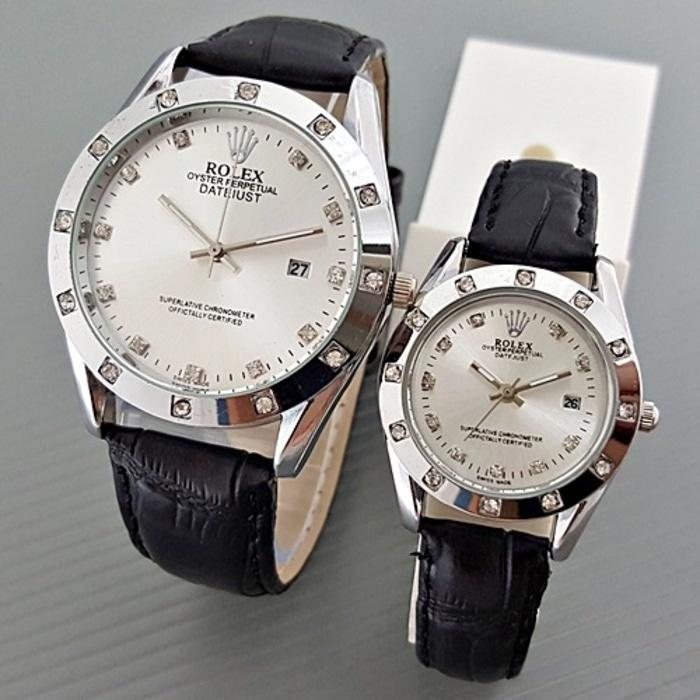 Jam Tangan Rolex Couple Leather Full Black Harga Sepasang