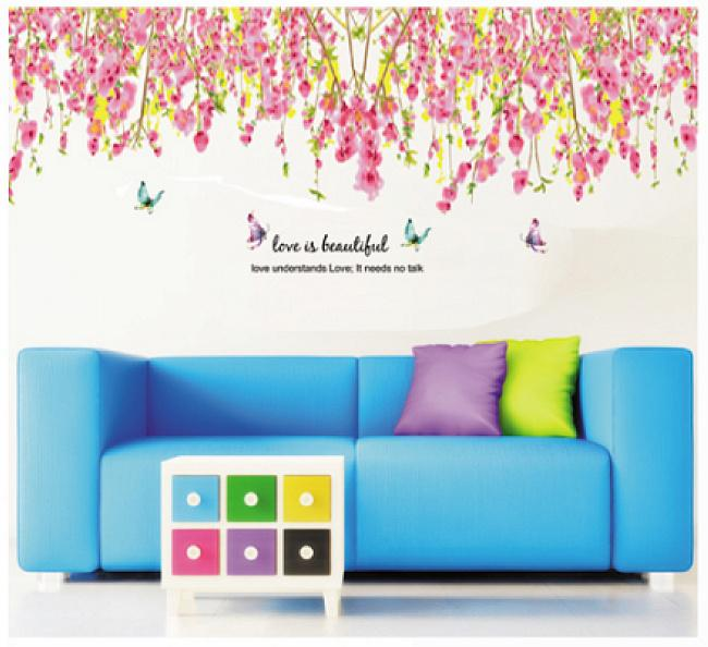 Wall sticker Pink Flowers Top Border JM7179 (90x60) Stiker Dinding