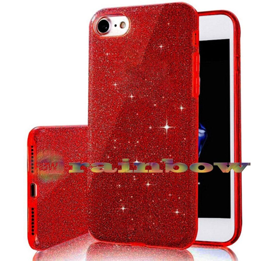Rainbow Soft Case Sparkle Oppo A57 (3 in 1) / Sparkle Phone Cases Red